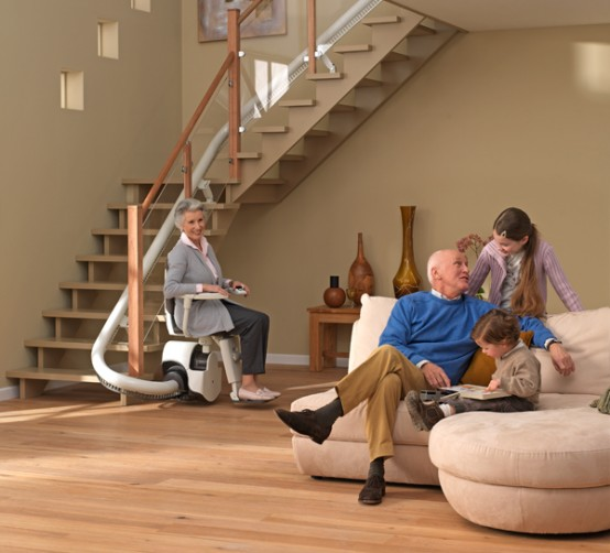 Senior 55+ woman in curved stair lift - Atlanta